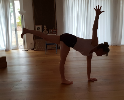 Parivritta Ardha Chandrasana – Yoga-Übung im Studio für Iyengar Yoga und Meditation, Neustadt