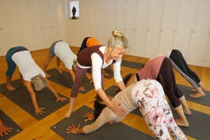 Yoga-Gruppe im Studio für Iyengar Yoga und Meditation, Neustadt